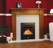 Brompton Mantel in oak with Logic Dimension 2 gas fire